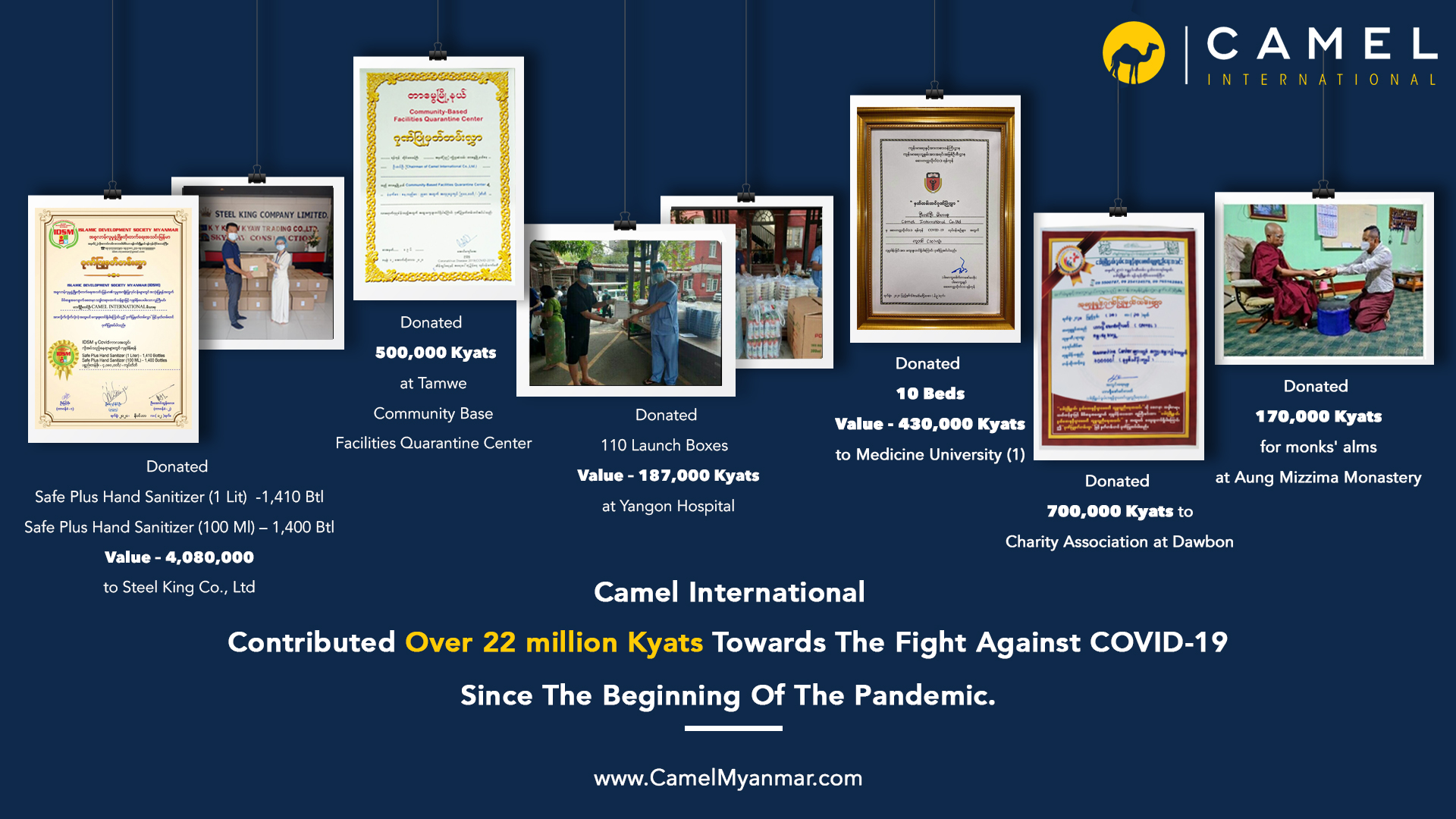 Camel International have contributed over 𝐎𝐯𝐞𝐫 𝟐𝟐 𝐌𝐢𝐥𝐥𝐢𝐨𝐧 Kyats towards the fight against the virus.